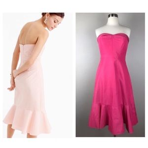 NWT J. Crew Hot Pink Strapless Ruffle-hem Dress